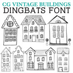 cg vintage buildings dingbats