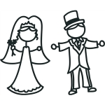 stick figures - bride & groom