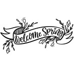 welcome spring banner with florals