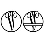 fancy monogram circle nameplate v