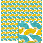 aqua and yellow speckled fan pattern