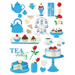blue tea party planner stickers