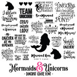 mermaids & unicorns quote dingbat font