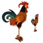 rooster 3d large figure