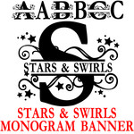 pn star & swirls monogram banner