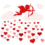 cupid spreading hearts