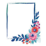 painted floral frame blue