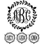 monogram basic script - holly wreath
