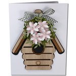 flower wreath birdhouse card