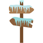 snowy wood sign