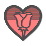 heart with rose cutout