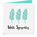 'with sympathy' feather cutout card