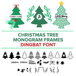 christmas tree monogram frames dingbat