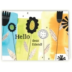 hello friend collage flowers card