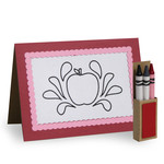 4 in. x 5.5 in. apple color card and crayon box