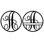 fancy monogram circle nameplate a