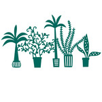 tropical houseplants repeating border