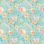 cute blue watercolor floral pattern