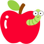 apple with worm - back to school