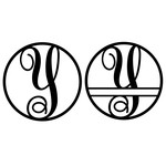 fancy monogram circle nameplate y
