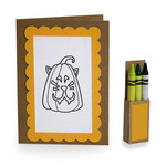 4 in. x 5.5 in. pumpkin cat coloring card and crayon box