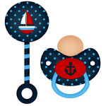 sailor baby boy pacifier and rattle