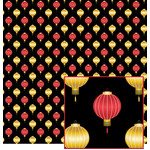red and gold chinese lantern pattern
