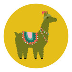 green and yellow llama