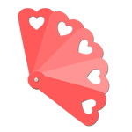 hand fan with cutout hearts