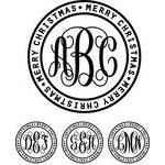 monogram basic script - merry christmas ring