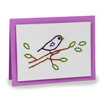 embroidery folded card - bird