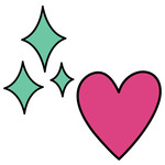 unicorn heart and sparkles icons