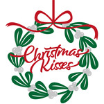 christmas wishes mistletoe wreath