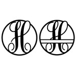 fancy monogram circle nameplate h