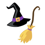 halloween witch hat and broom