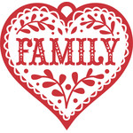 nordic family heart christmas ornament