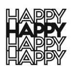 'happy' outline words
