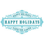 happy holidays intricate tag