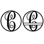 fancy monogram circle nameplate c