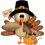 turkey & mouse holding sign eat pie pnc