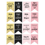 pink & gold motivational flags