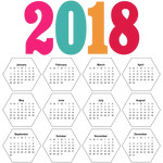 2018 calendar hexagons