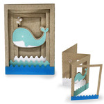 accordion shadow box card - whale