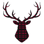 plaid deer head