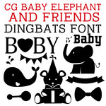 cg baby elephant and friends dingbats