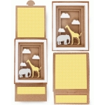 elephant giraffe shadow box sliding card