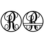 fancy monogram circle nameplate r