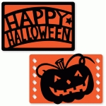 happy halloween and pumpkin flat card set