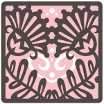 brocade tulip heart layered flat square card