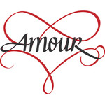 flourished amour heart - calligraphy